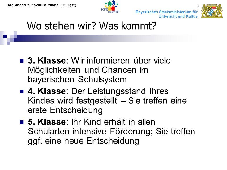 Bayerisches Staatsministerium für Unterricht und Kultus Info-Abend zur Schullaufbahn ( 3. Jgst) 2 Wo stehen wir? Was kommt? 3. Klasse: Wir informieren
