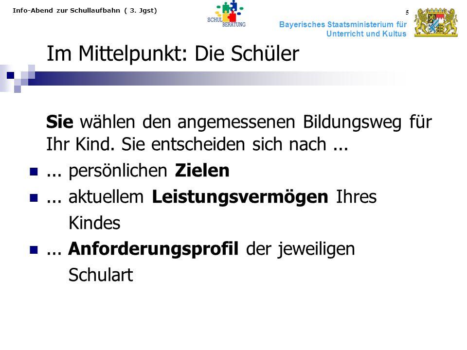 Bayerisches Staatsministerium für Unterricht und Kultus Info-Abend zur Schullaufbahn ( 3. Jgst) 5 Im Mittelpunkt: Die Schüler Sie wählen den angemesse
