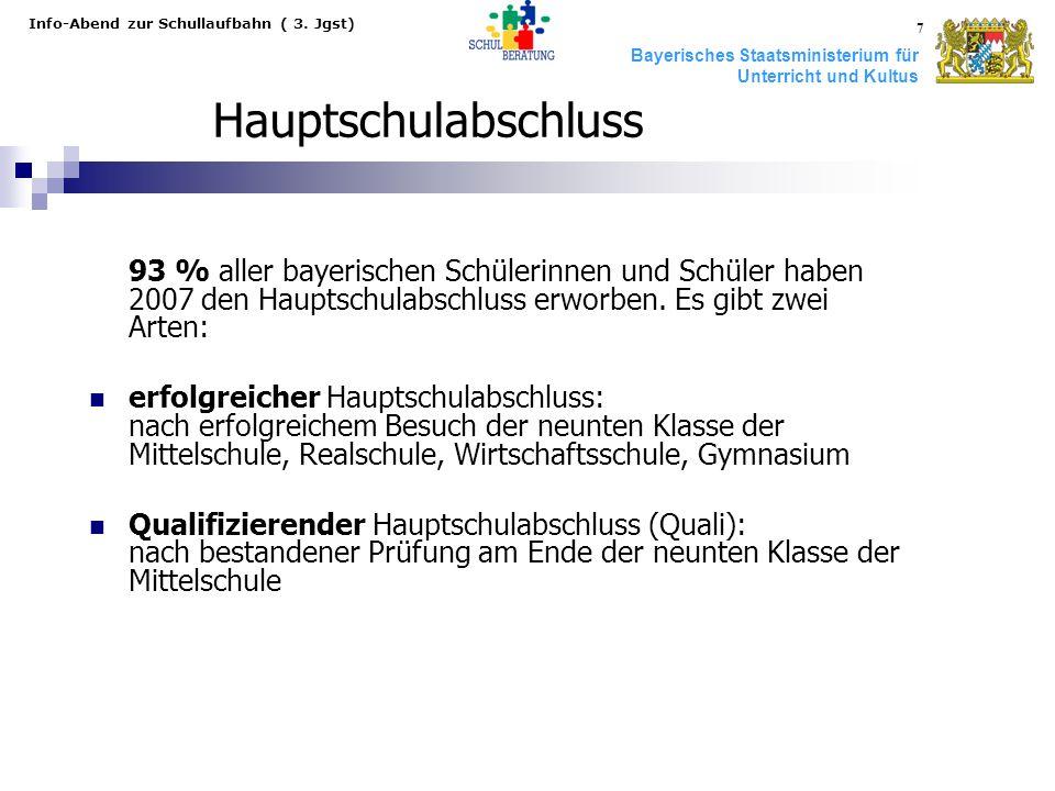 Bayerisches Staatsministerium für Unterricht und Kultus Info-Abend zur Schullaufbahn ( 3. Jgst) 7 Hauptschulabschluss 93 % aller bayerischen Schülerin