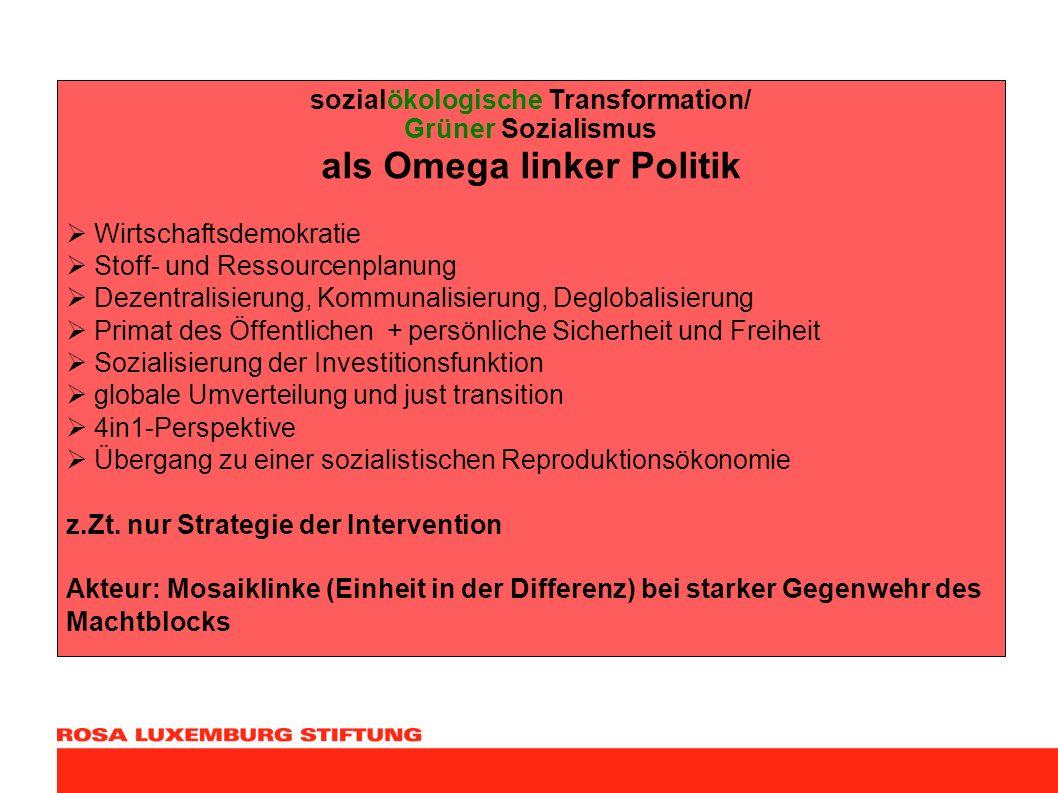 sozialökologische Transformation/ Grüner Sozialismus als Omega linker Politik Wirtschaftsdemokratie Stoff- und Ressourcenplanung Dezentralisierung, Ko