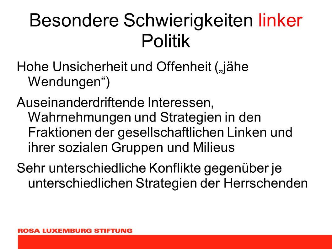 Besondere Schwierigkeiten linker Politik Hohe Unsicherheit und Offenheit (jähe Wendungen) Auseinanderdriftende Interessen, Wahrnehmungen und Strategie