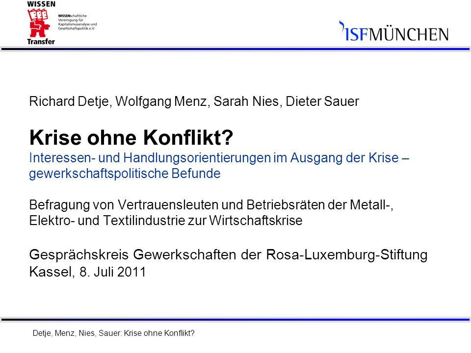 1 Richard Detje, Wolfgang Menz, Sarah Nies, Dieter Sauer Krise ohne Konflikt? Interessen- und Handlungsorientierungen im Ausgang der Krise – gewerksch