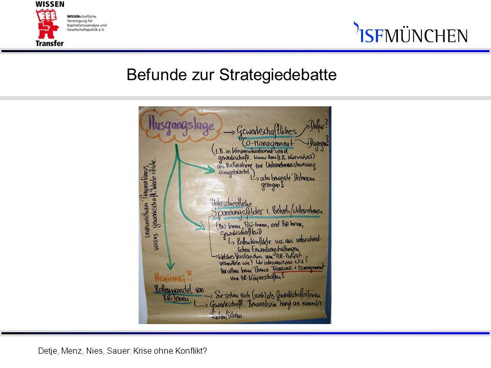 13 Befunde zur Strategiedebatte Detje, Menz, Nies, Sauer: Krise ohne Konflikt?