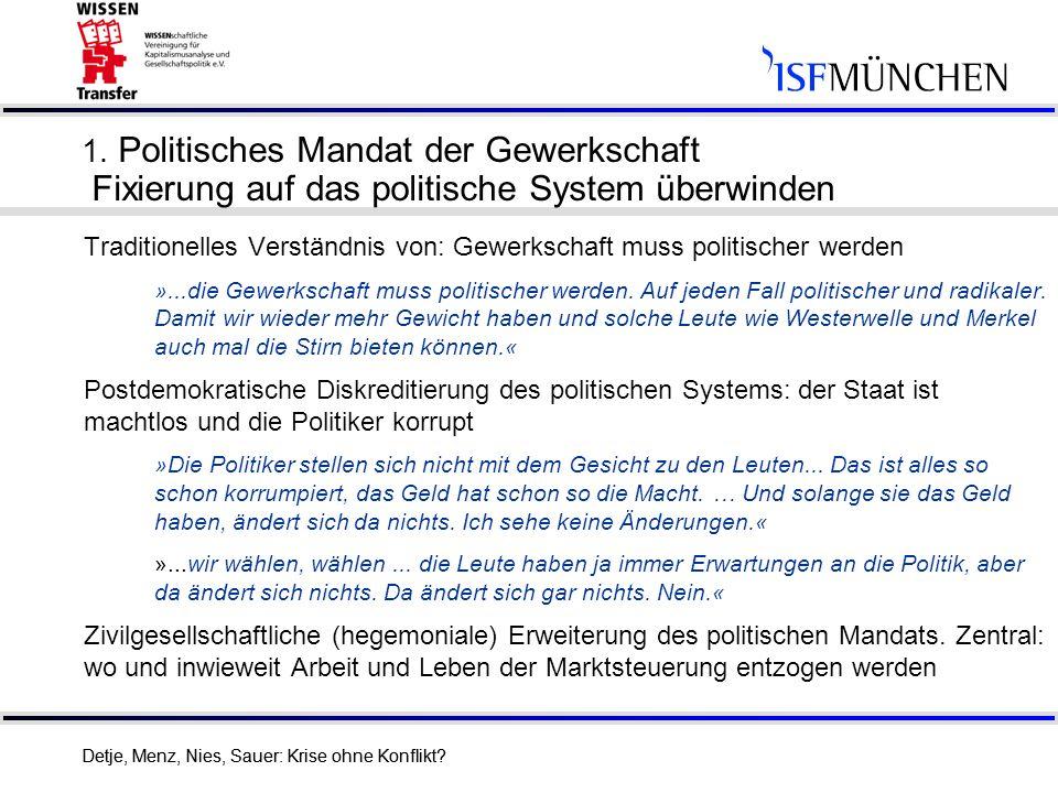14 Detje, Menz, Nies, Sauer: Krise ohne Konflikt? 1. Politisches Mandat der Gewerkschaft Fixierung auf das politische System überwinden Traditionelles