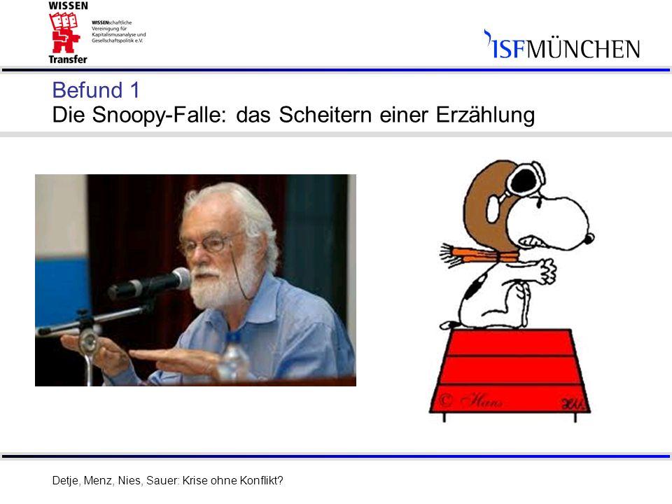 4 Befund 1 Die Snoopy-Falle: das Scheitern einer Erzählung Detje, Menz, Nies, Sauer: Krise ohne Konflikt?