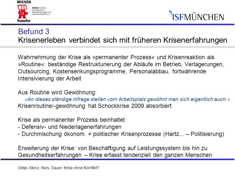 19 Dank für die Aufmerksamkeit Detje, Menz, Nies, Sauer: Krise ohne Konflikt?