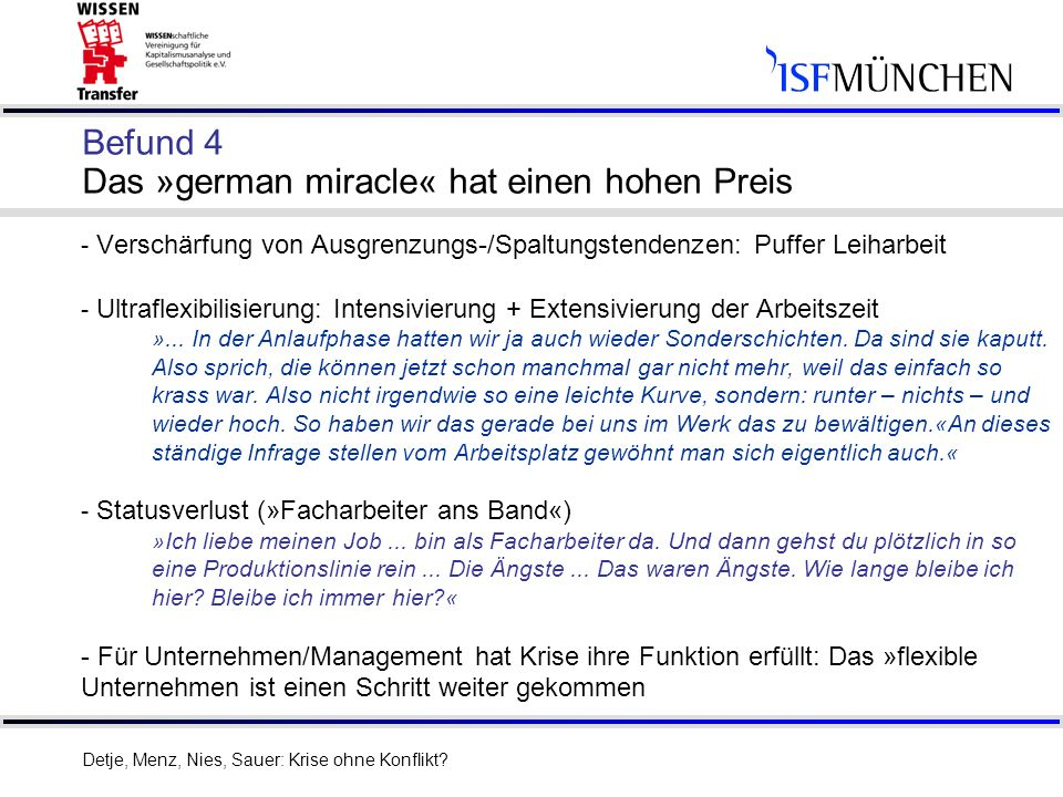 9 Befund 4 Das »german miracle« hat einen hohen Preis - Verschärfung von Ausgrenzungs-/Spaltungstendenzen: Puffer Leiharbeit - Ultraflexibilisierung: