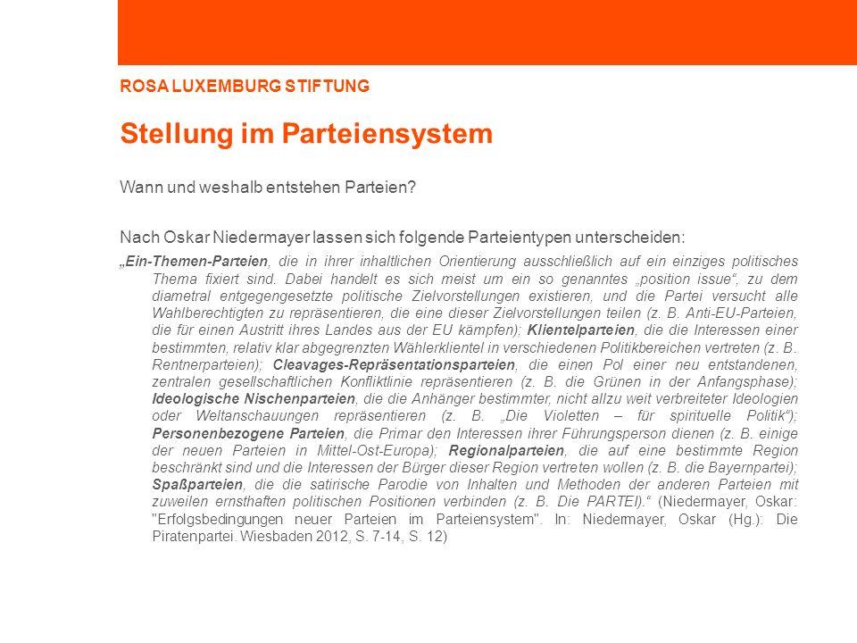 ROSA LUXEMBURG STIFTUNG Stellung im Parteiensystem Wann und weshalb entstehen Parteien? Nach Oskar Niedermayer lassen sich folgende Parteientypen unte