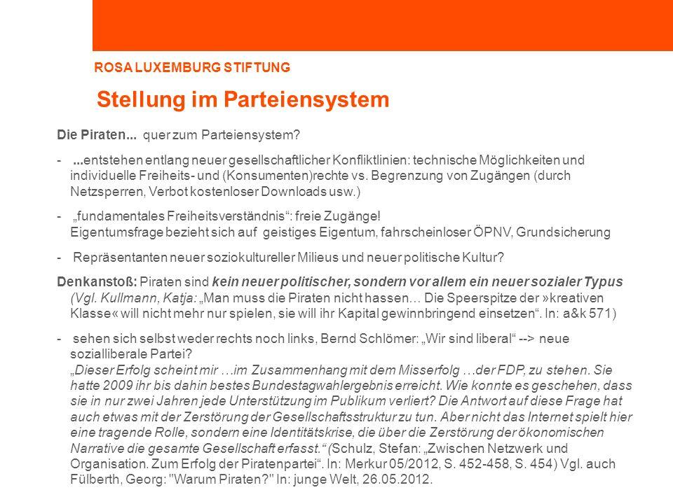 ROSA LUXEMBURG STIFTUNG Stellung im Parteiensystem Die Piraten... quer zum Parteiensystem? -...entstehen entlang neuer gesellschaftlicher Konfliktlini