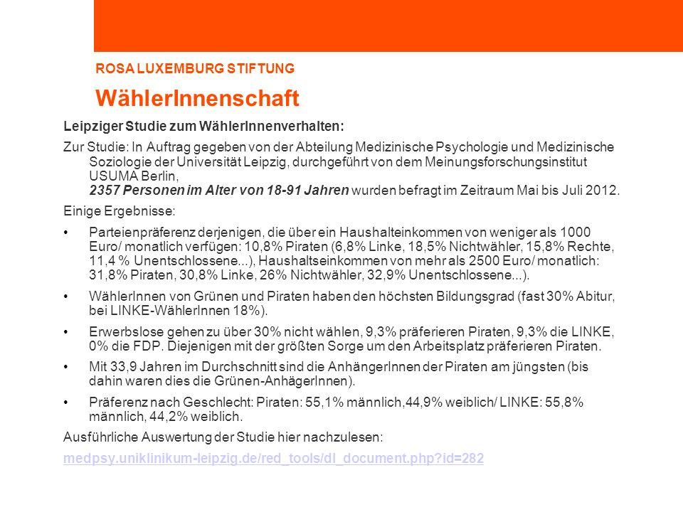 ROSA LUXEMBURG STIFTUNG WählerInnenschaft Leipziger Studie zum WählerInnenverhalten: Zur Studie: In Auftrag gegeben von der Abteilung Medizinische Psy
