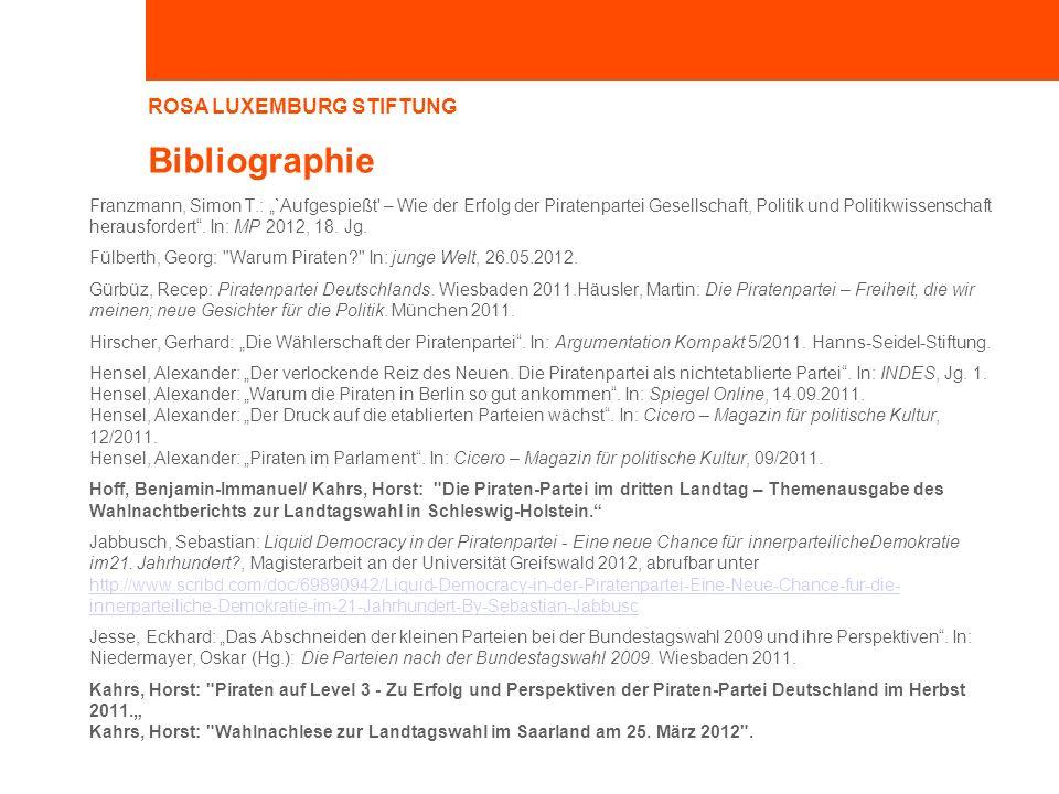 ROSA LUXEMBURG STIFTUNG Bibliographie Franzmann, Simon T.: `Aufgespießt – Wie der Erfolg der Piratenpartei Gesellschaft, Politik und Politikwissenschaft herausfordert.