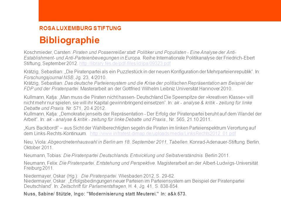 ROSA LUXEMBURG STIFTUNG Bibliographie Koschmieder, Carsten: Piraten und Possenreißer statt Politiker und Populisten - Eine Analyse der Anti- Establishment- und Anti-Parteienbewegungen in Europa.