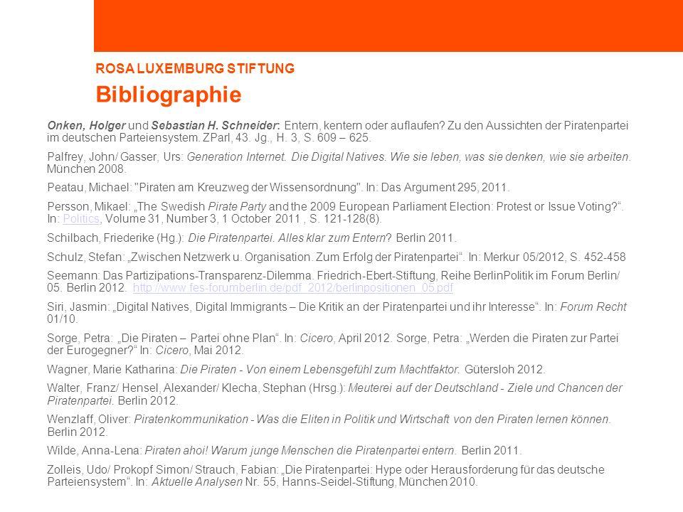 ROSA LUXEMBURG STIFTUNG Bibliographie Onken, Holger und Sebastian H. Schneider: Entern, kentern oder auflaufen? Zu den Aussichten der Piratenpartei im