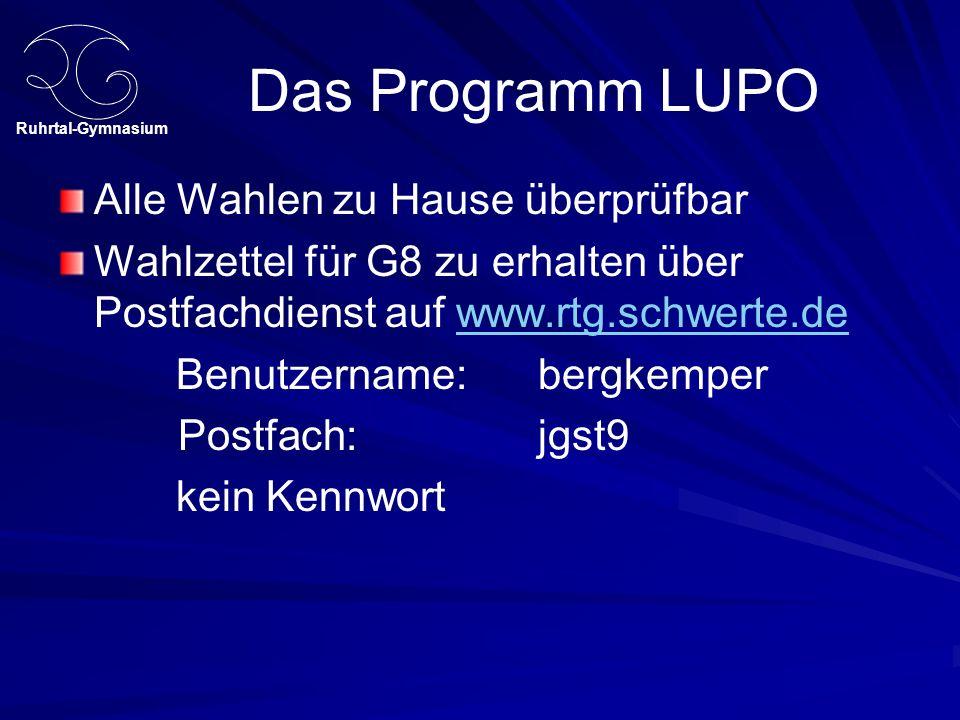 Ruhrtal-Gymnasium Das Programm LUPO Alle Wahlen zu Hause überprüfbar Wahlzettel für G8 zu erhalten über Postfachdienst auf www.rtg.schwerte.dewww.rtg.schwerte.de Benutzername: bergkemper Postfach: jgst9 kein Kennwort