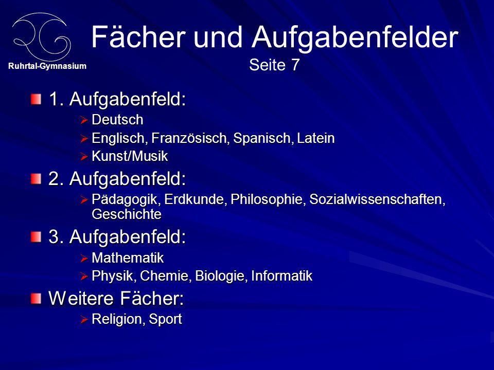 Ruhrtal-Gymnasium Fächer und Aufgabenfelder Seite 7 1.