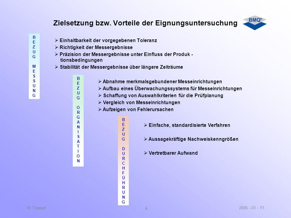 2006 - 01 - 11M. Töpperl 3 Normen - / Richtlinienbezug 2 Anmerkung Für die statistische Untersuchung von Messsystemen gibt es keine spezielle Norm. Di