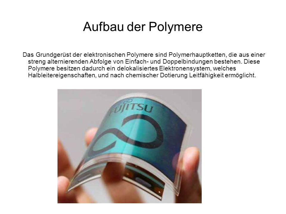 Aufbau der Polymere Das Grundgerüst der elektronischen Polymere sind Polymerhauptketten, die aus einer streng alternierenden Abfolge von Einfach- und