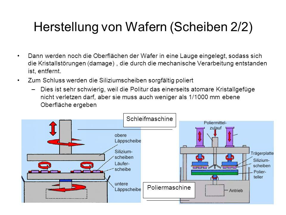 Herstellung von Wafern (Scheiben 2/2) Dann werden noch die Oberflächen der Wafer in eine Lauge eingelegt, sodass sich die Kristallstörungen (damage),