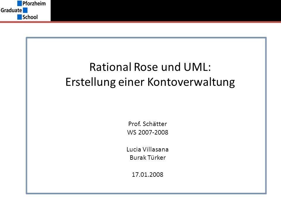 Rational Rose und UML: Erstellung einer Kontoverwaltung Prof. Schätter WS 2007-2008 Lucia Villasana Burak Türker 17.01.2008
