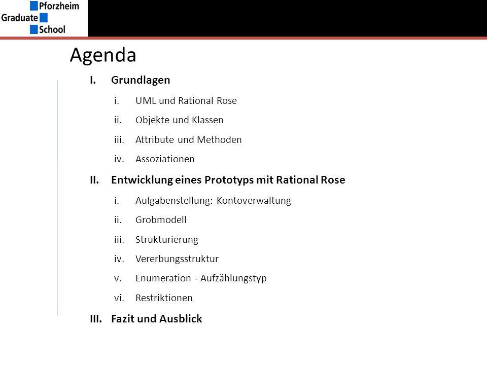 Agenda I.Grundlagen i.UML und Rational Rose ii.Objekte und Klassen iii.Attribute und Methoden iv.Assoziationen II.Entwicklung eines Prototyps mit Rati
