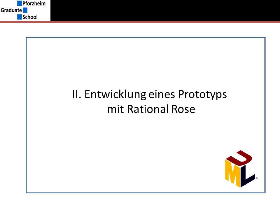 I.Grundlagen UML –ModelleII. Entwicklung eines Prototyps mit Rational Rose Restriktionen i.