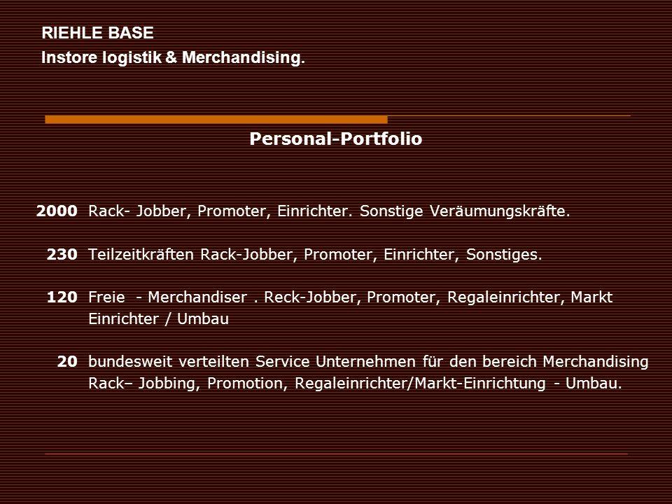 2000 Rack- Jobber, Promoter, Einrichter. Sonstige Veräumungskräfte.