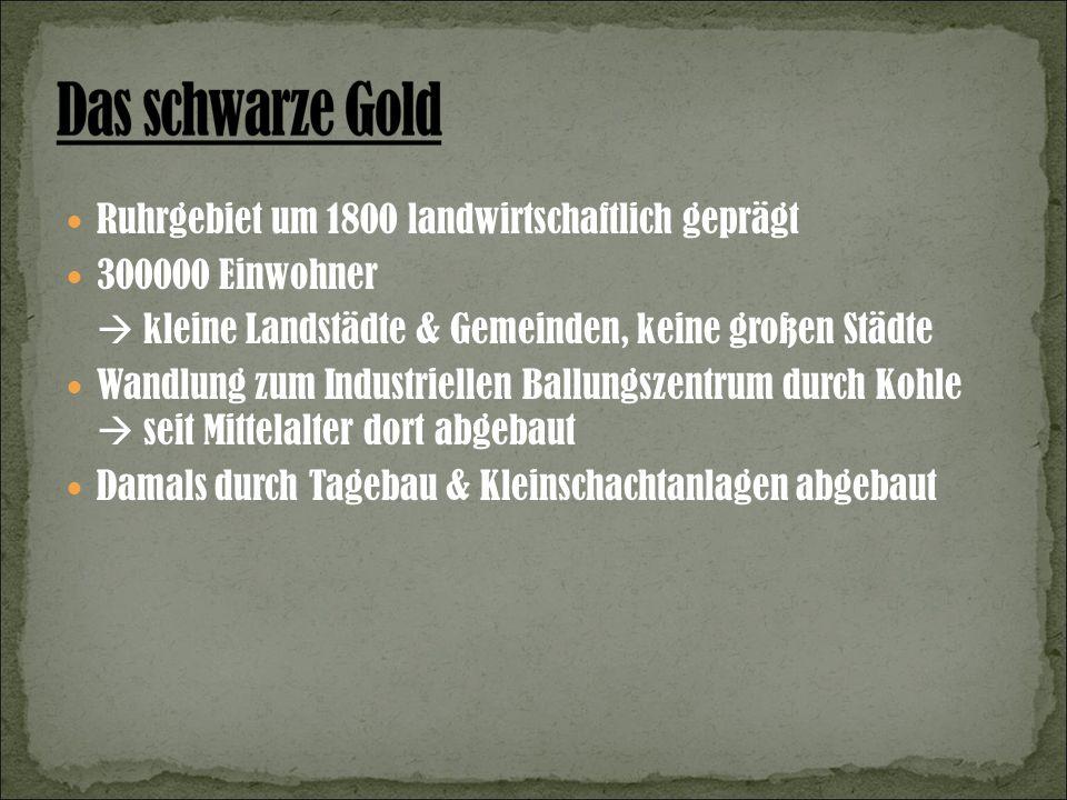 Ruhrgebiet um 1800 landwirtschaftlich geprägt 300000 Einwohner kleine Landstädte & Gemeinden, keine großen Städte Wandlung zum Industriellen Ballungszentrum durch Kohle seit Mittelalter dort abgebaut Damals durch Tagebau & Kleinschachtanlagen abgebaut