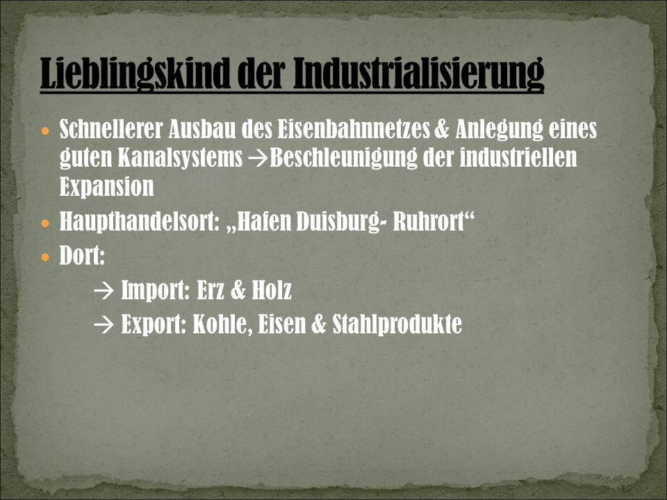 Schnellerer Ausbau des Eisenbahnnetzes & Anlegung eines guten Kanalsystems Beschleunigung der industriellen Expansion Haupthandelsort: Hafen Duisburg- Ruhrort Dort: Import: Erz & Holz Export: Kohle, Eisen & Stahlprodukte