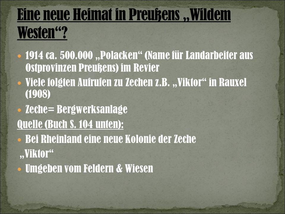 1914 ca. 500.000 Polacken (Name für Landarbeiter aus Ostprovinzen Preußens) im Revier Viele folgten Aufrufen zu Zechen z.B. Viktor in Rauxel (1908) Ze