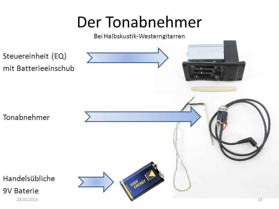 Der Tonabnehmer Bei Halbskustik-Westerngitarren Steuereinheit (EQ) mit Batterieeinschub Tonabnehmer Handelsübliche 9V Baterie 1328.01.2014