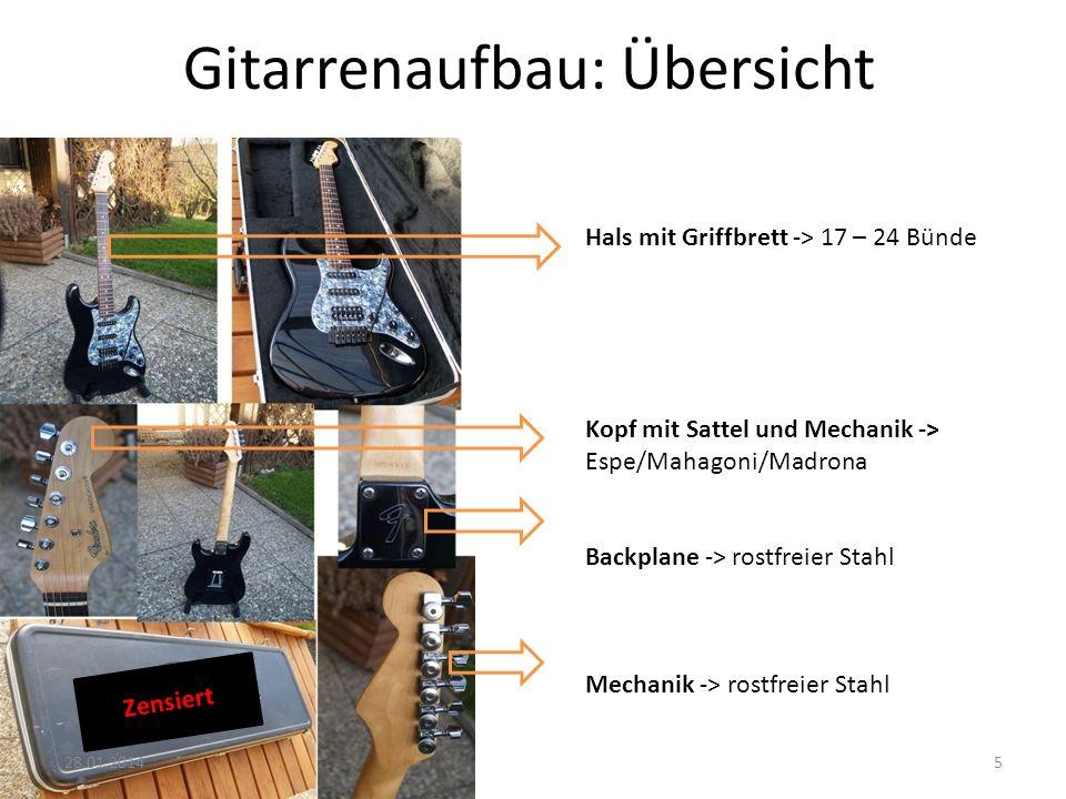 Gitarrenaufbau: Übersicht Hals mit Griffbrett -> 17 – 24 Bünde Kopf mit Sattel und Mechanik -> Espe/Mahagoni/Madrona Backplane -> rostfreier Stahl Mec