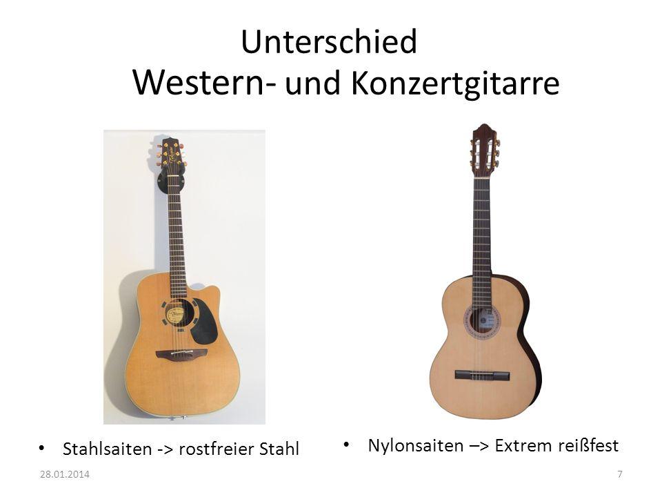 Unterschied Stahlsaiten -> rostfreier Stahl Nylonsaiten –> Extrem reißfest 728.01.2014 Western- und Konzertgitarre