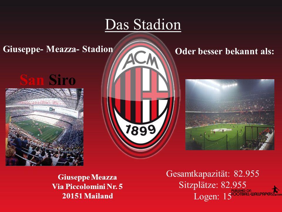 Das Stadion Giuseppe- Meazza- Stadion Oder besser bekannt als: San Siro Giuseppe Meazza Via Piccolomini Nr.