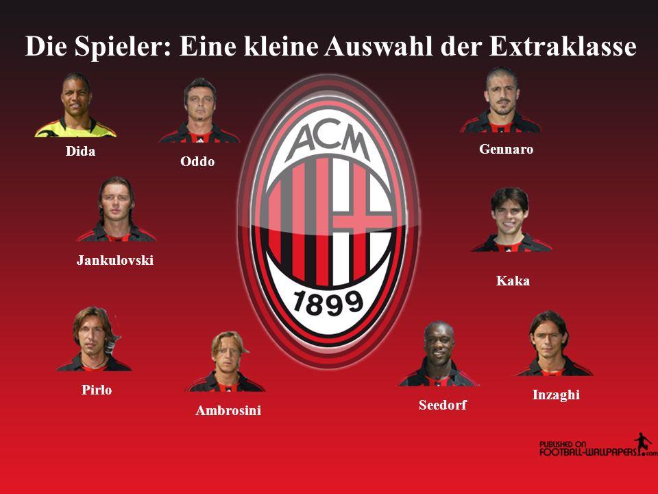 Die Spieler: Eine kleine Auswahl der Extraklasse Dida Gennaro Jankulovski Kaka Pirlo Seedorf Ambrosini Inzaghi Oddo