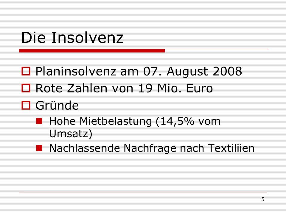 5 Die Insolvenz Planinsolvenz am 07. August 2008 Rote Zahlen von 19 Mio. Euro Gründe Hohe Mietbelastung (14,5% vom Umsatz) Nachlassende Nachfrage nach