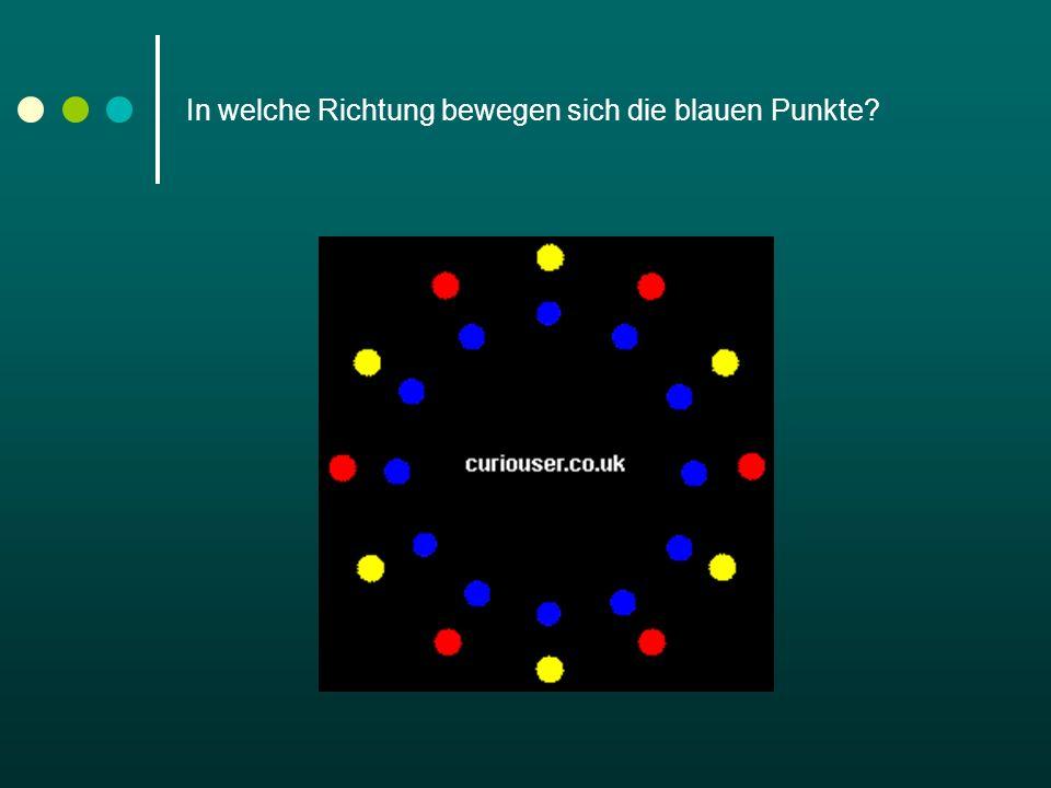 In welche Richtung bewegen sich die blauen Punkte?