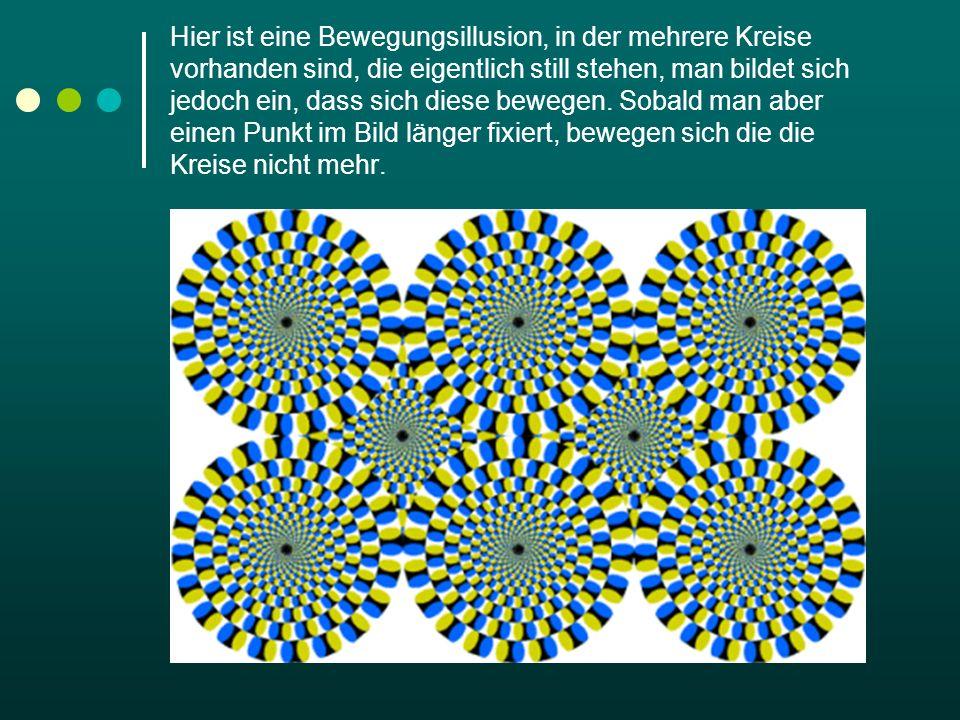 Lösung Der Effekt entsteht durch unbewusste kleine Augenbewegungen, die jeder von uns ständig macht, und durch die asymmetrischen Farbunterschiede der kleinen Elemente.