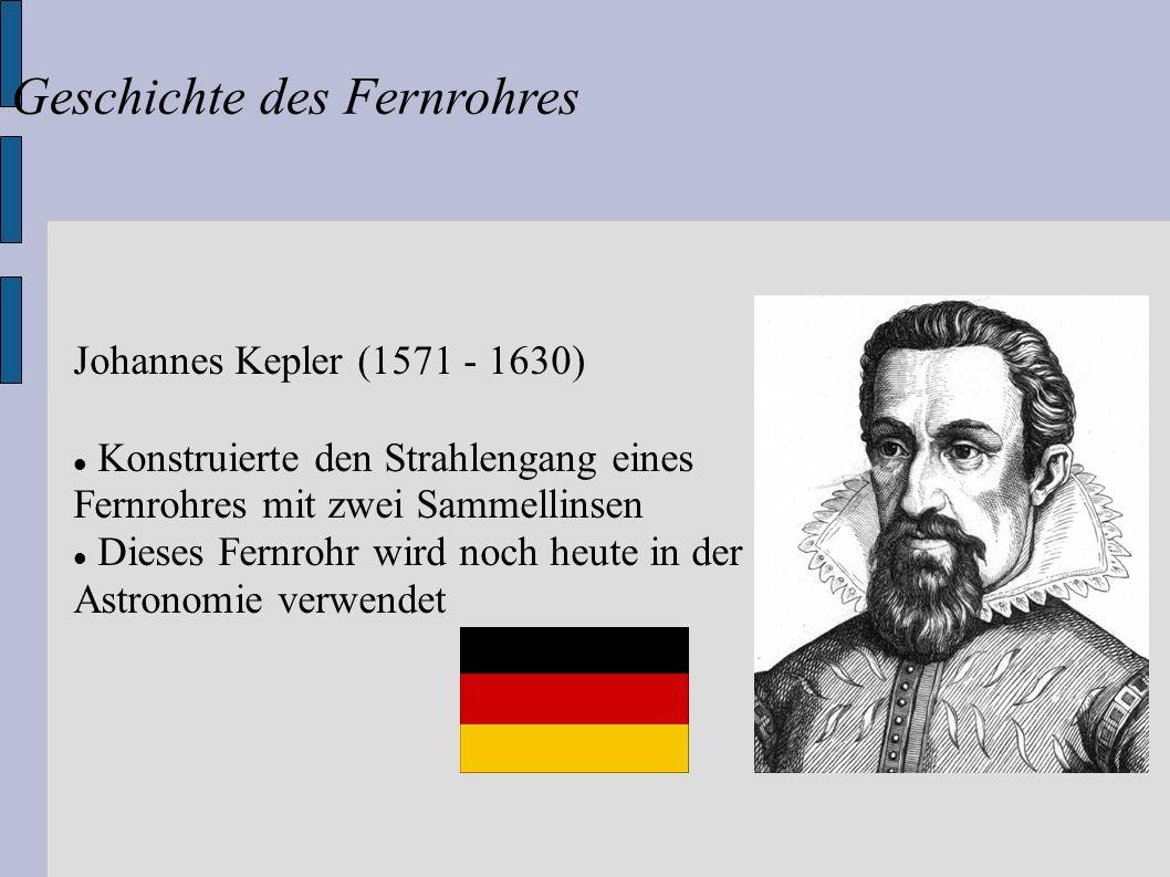 Johannes Kepler (1571 - 1630) Konstruierte den Strahlengang eines Fernrohres mit zwei Sammellinsen Dieses Fernrohr wird noch heute in der Astronomie v