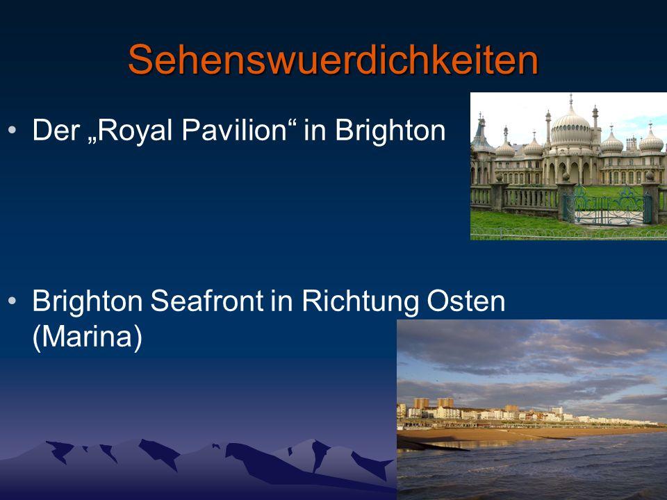 Sehenswuerdichkeiten Der Royal Pavilion in Brighton Brighton Seafront in Richtung Osten (Marina)