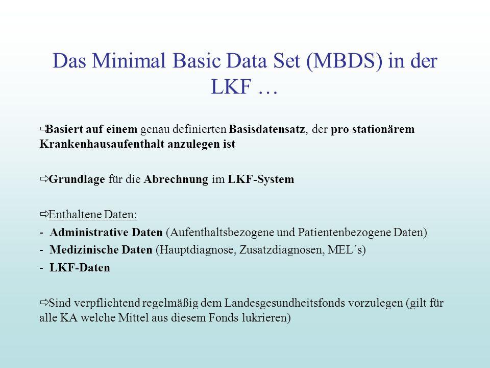Das Minimal Basic Data Set (MBDS) in der LKF … Basiert auf einem genau definierten Basisdatensatz, der pro stationärem Krankenhausaufenthalt anzulegen