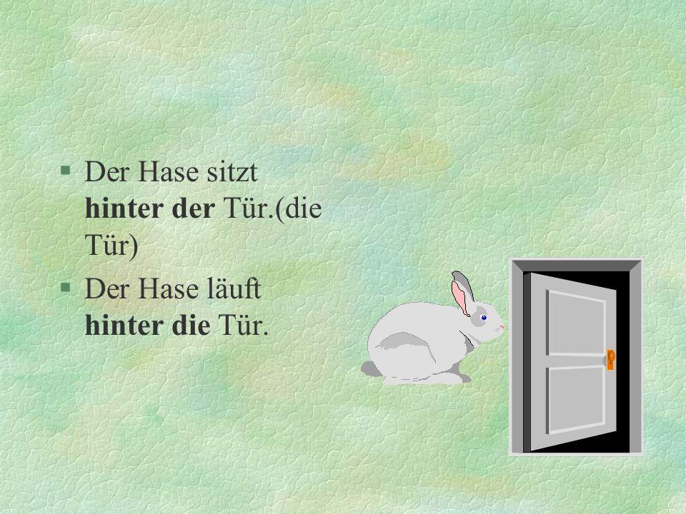 §Der Hase sitzt hinter der Tür.(die Tür) §Der Hase läuft hinter die Tür.