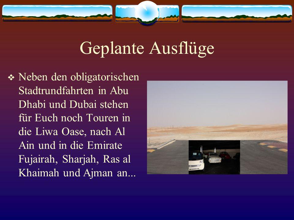 Geplante Ausflüge Neben den obligatorischen Stadtrundfahrten in Abu Dhabi und Dubai stehen für Euch noch Touren in die Liwa Oase, nach Al Ain und in die Emirate Fujairah, Sharjah, Ras al Khaimah und Ajman an...