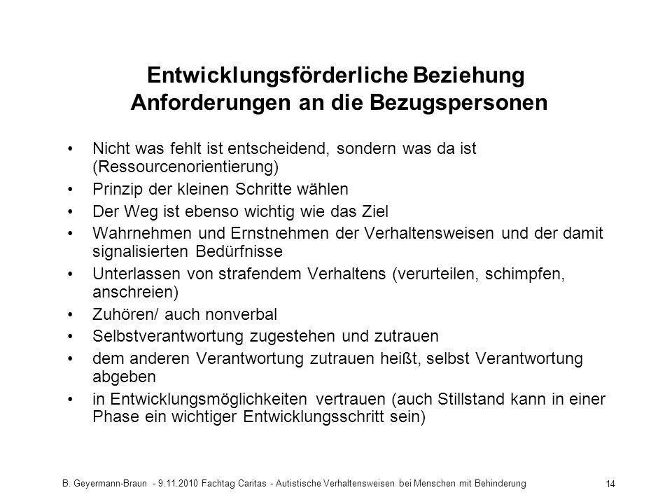 B. Geyermann-Braun - 9.11.2010 Fachtag Caritas - Autistische Verhaltensweisen bei Menschen mit Behinderung 14 Entwicklungsförderliche Beziehung Anford