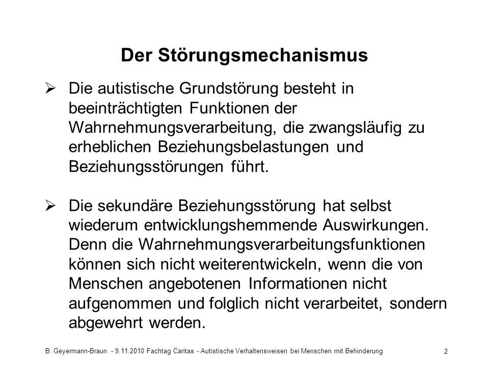 B. Geyermann-Braun - 9.11.2010 Fachtag Caritas - Autistische Verhaltensweisen bei Menschen mit Behinderung 2 Der Störungsmechanismus Die autistische G