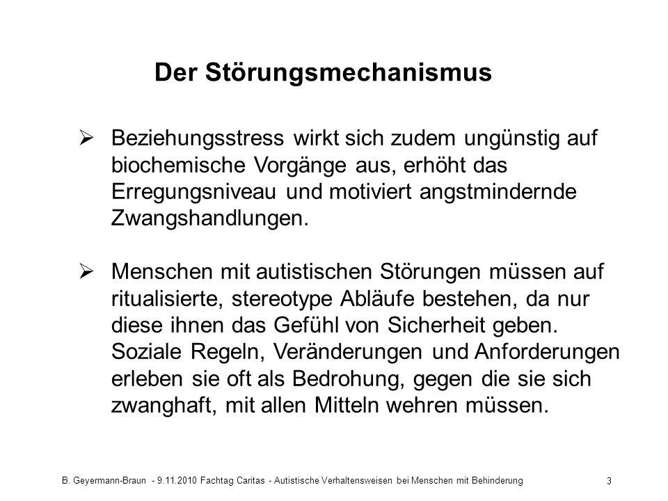 B. Geyermann-Braun - 9.11.2010 Fachtag Caritas - Autistische Verhaltensweisen bei Menschen mit Behinderung 3 Der Störungsmechanismus Beziehungsstress