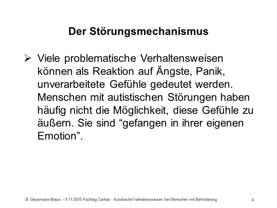B. Geyermann-Braun - 9.11.2010 Fachtag Caritas - Autistische Verhaltensweisen bei Menschen mit Behinderung 4 Der Störungsmechanismus Viele problematis