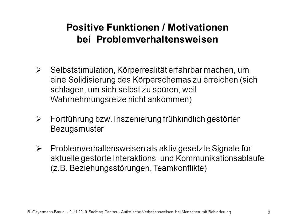 B. Geyermann-Braun - 9.11.2010 Fachtag Caritas - Autistische Verhaltensweisen bei Menschen mit Behinderung 9 Positive Funktionen / Motivationen bei Pr