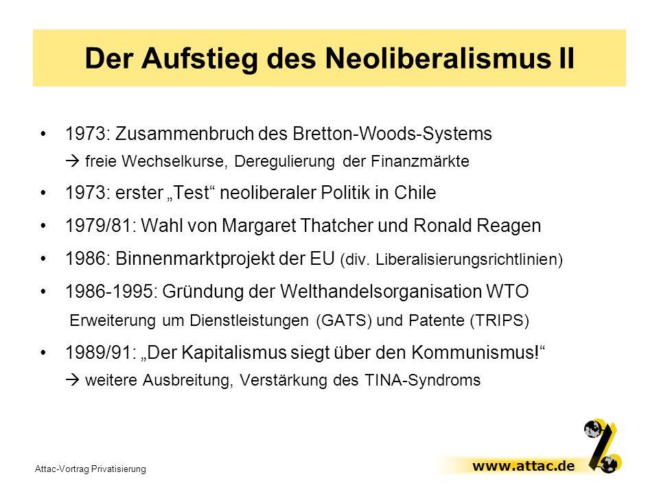 Attac-Vortrag Privatisierung www.attac.de Der Aufstieg des Neoliberalismus II 1973: Zusammenbruch des Bretton-Woods-Systems freie Wechselkurse, Deregu