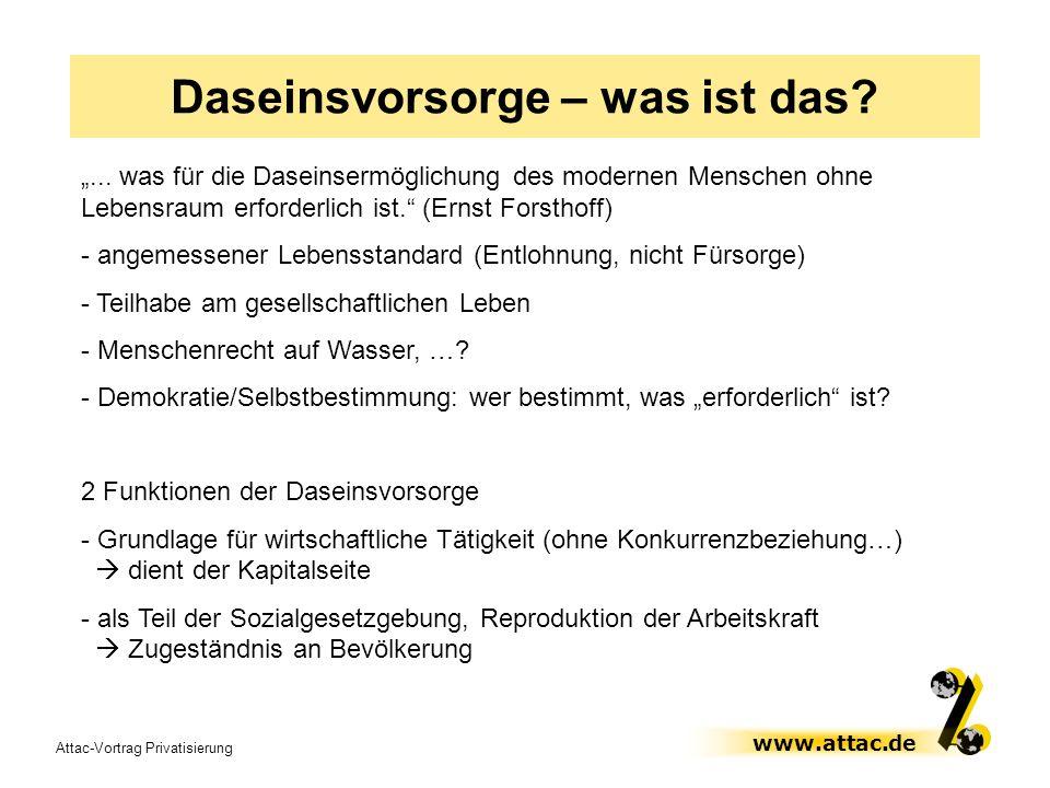 Attac-Vortrag Privatisierung www.attac.de Daseinsvorsorge – was ist das?... was für die Daseinsermöglichung des modernen Menschen ohne Lebensraum erfo