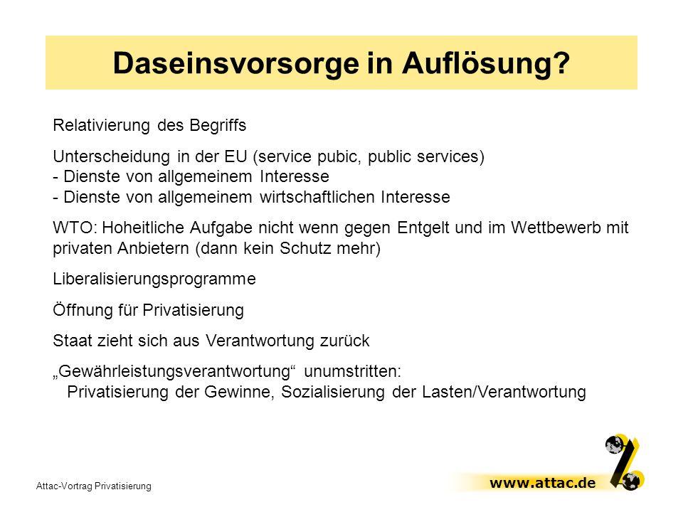 Attac-Vortrag Privatisierung www.attac.de Daseinsvorsorge in Auflösung? Relativierung des Begriffs Unterscheidung in der EU (service pubic, public ser